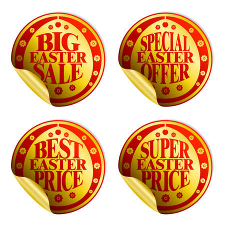 Easter sticker sale set gold.Vector illustration 矢量图像