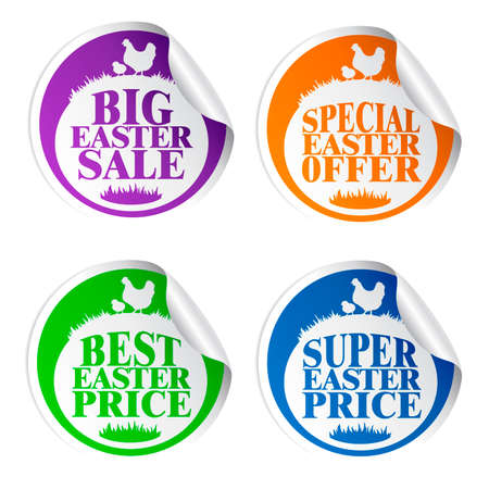 Easter stickers big sale,special offer,best price,super price with chicken colorful.Vector illustration
