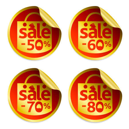 Easter gold sale stickers 50,60,70,80 with egg in the grass and rabbit.Vector ilustration