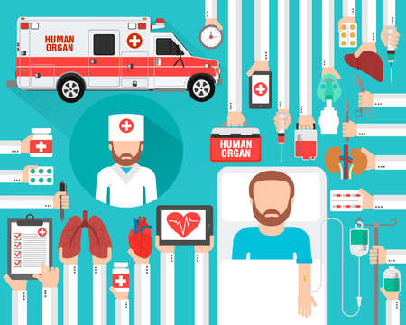 Human organ transplatation flat design with doctor, patient and human organ medical car.Vector illustration Illustration
