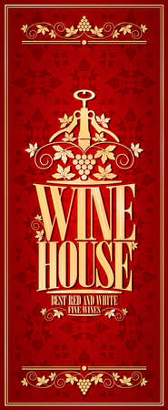 Vintage red wine house long menu.Vector illustration
