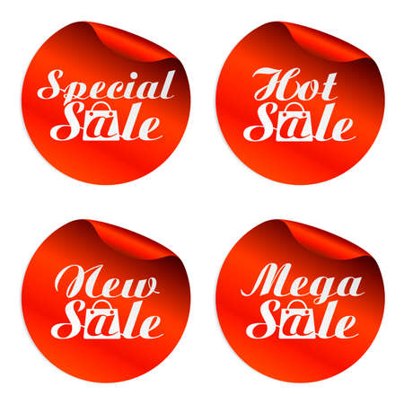 Red sale stickers special,hot,new,mega with bag.Vector illustration