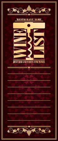 Vintage violet wine list long gold frame menu .Vector illustration Ilustração
