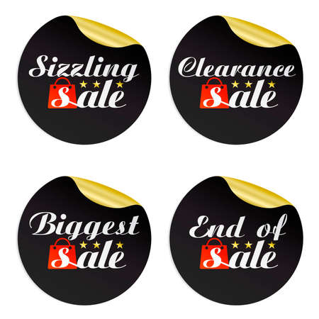 Black gold stickers sizzling,clearance,biggest,end of with red package.Vector illustration Illustration
