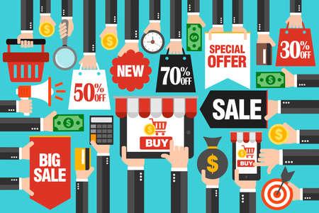 Concept design sale flat, with laptop,smartphone online shopping. Sale 30%, 50%, 70% off.Vector illustration