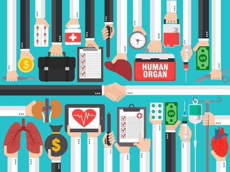 Human transplatation. Medical concept flat design.Vector illustration Illustration