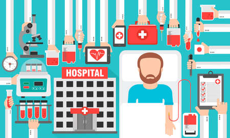 Medical design flat with hospital and patient, blood transfusion. Vector illustration Stock Illustratie