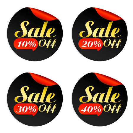 Black, red, gold sale stickers set with bubble 10%, 20%, 30%, 40% off.Vector illustration Иллюстрация