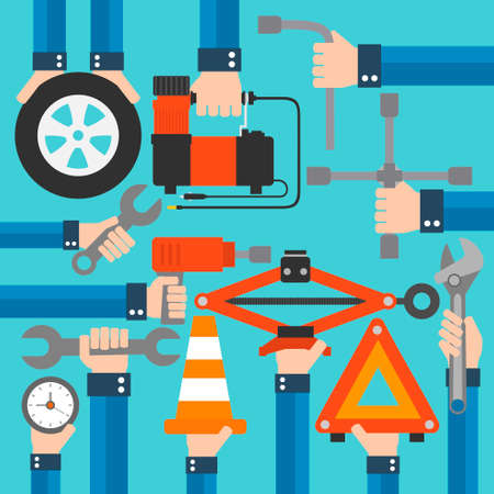 Car emergency equipment modern design flat set.Vector illustration Vector Illustratie
