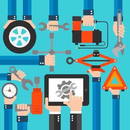 Online car service concept flat design.Vector illustration