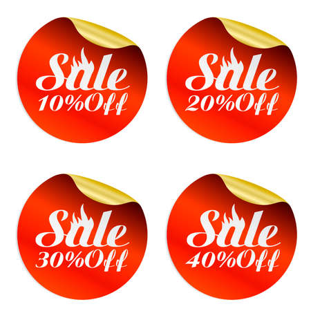 Red, gold fire sale stickers set 10%, 20%, 30%, 40% off.Vector illustration Иллюстрация