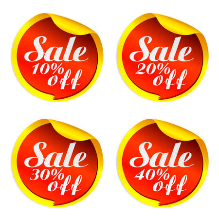 Yellow sale stickers set with red bubble 10%, 20%, 30%, 40% off.Vector illustration