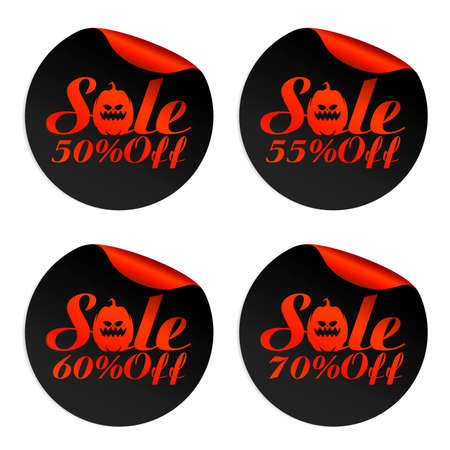 Black, red Halloween sale stickers set with pumpkin 50%, 55%, 60%, 70% off. Vector illustration