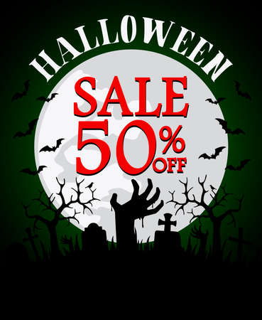 Halloween sale background with hands zombie 50% off. Vector illustration