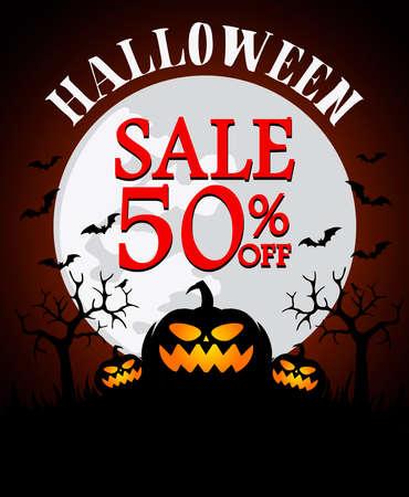 Halloween sale background with pumpkin 50% off. Vector illustration