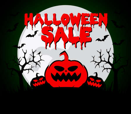 Halloween sale background with red pumpkin.Vector illustration Ilustracja