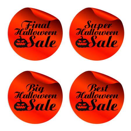 Red Halloween sale stickers final,super,big,best.Vector illustration Ilustração