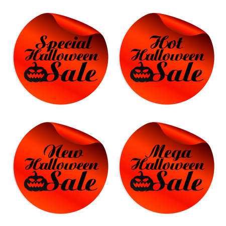 Red Halloween sale stickers special, hot, new, mega.Vector illustration