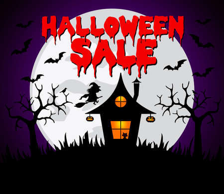 Halloween sale background with witchs house.Vector illustration Ilustracja