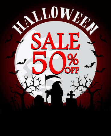 Halloween sale background with grim Reaper 50% off. Vector illustration