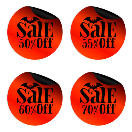 Red Halloween sale stickers set with bat 50, 55, 60, 70 percent off.Vector illustration