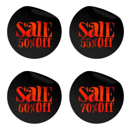 Black Halloween sale stickers set with spider 50, 55, 60, 70 percent off.Vector illustration Ilustração