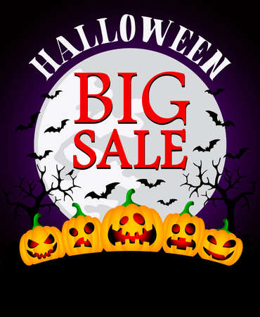 Halloween big sale background with funny pumpkins.Vector illustration