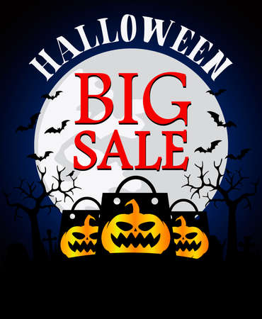 Halloween big sale background with pumpkin .Vector illustration