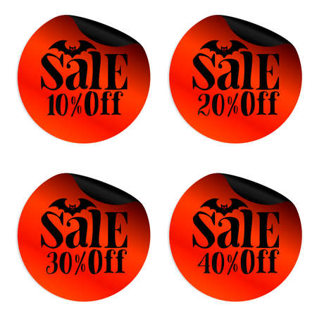 Red Halloween sale stickers set with bat 10, 20, 30, 40 percent off.Vector illustration Иллюстрация