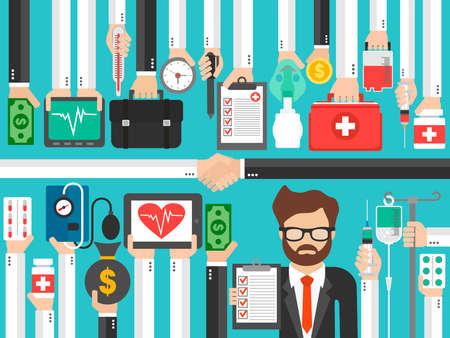 Health Insurance. Medical concept flat design with insurer. Vector illustration