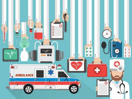 Medical service. Ambulance flat concept design with doctor. Vector illustration