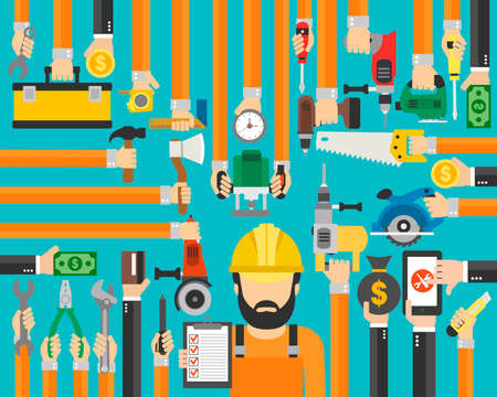 Repair service design flat with master,repairman. Vector illustration