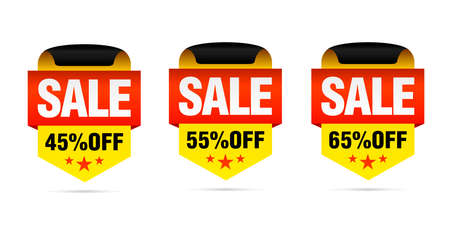 Yellow set of sale badges, 45%, 55%, 65% off with stars. Vector illustration