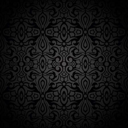 Black vintage seamless background with abstract pattern.Vector illustration Vektorgrafik