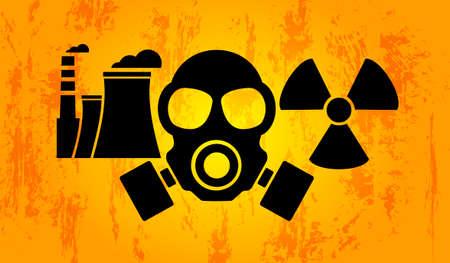 Nuclear power plant factory icon, radioactive icon, hazard symbol, gas mask. Vector illustration