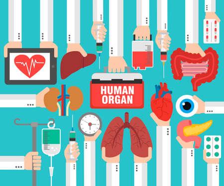 Diseño de concepto médico plano. Órgano humano para trasplante. Ilustración vectorial