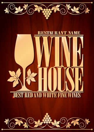 Wine house menu. Best red and white fine wines. Wood background. Vector illustration Vetores