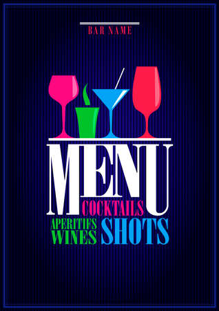 Drinks menu, cocktails, aperitifs wines, shots. Menu background. Vector illustration