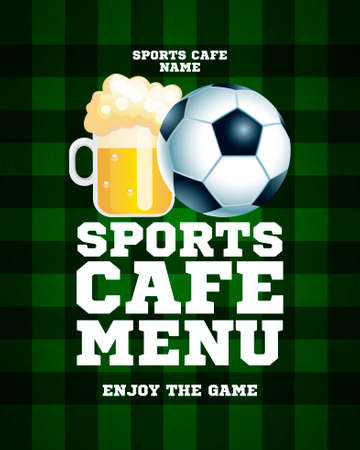 Sports cafe menu. Enjoy the game. Sports background template. Vector illustration 向量圖像