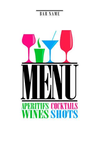 Drinks menu, cocktails, aperitifs wines, shots. Menu on white background. Vector illustration