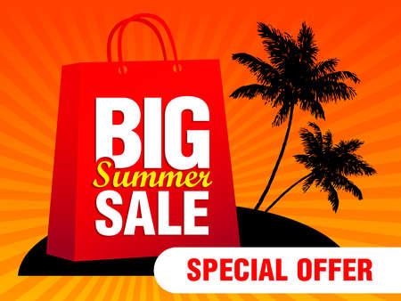 Big Summer sale template poster. Special Offer summer sale banner with package on the island. Vector illustration