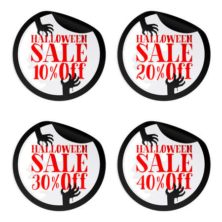 Black Halloween sale stickers set with zombie hands 10, 20, 30, 40 percent off. Vector illustration