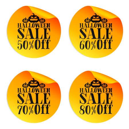 Halloween orange sale stickers set with pumpkins 50%, 60%, 70%, 80% off. Vector illustration