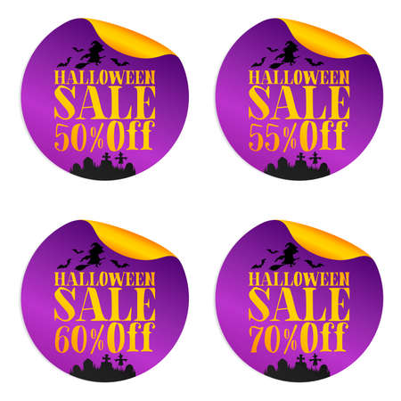 Halloween violet sale stickers set with witch 50%, 55%, 60%, 70% off. Vector illustration