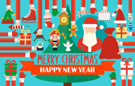 Merry Christmas and Happy New Year greatings concept modern design flat. Christmas tree and santa Claus. Vector illustration
