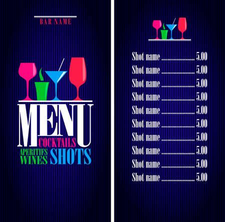 Bar design menu. Drinks, cocktails, aperitifs wines, shots menu. Vector illustration