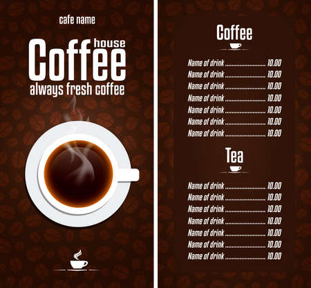 Cafe design menu. Coffee House menu with a cup. Always fresh coffee. Vector illustration