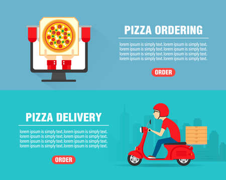 Pizza ordering concept design flat banners set. Pizza Delivery man ride scooter motorcycle. Pizza icon. Vector illustration Vektorové ilustrace
