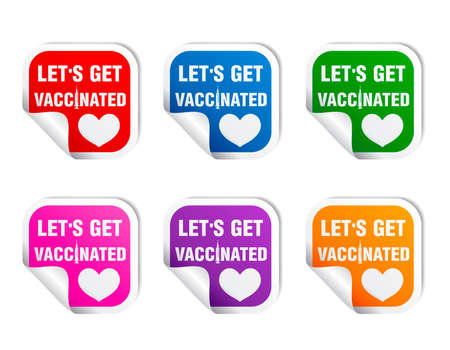 Stickers colorful set. Sticker with the inscription to get vaccinated. Let's get vaccinated. Vector illustration