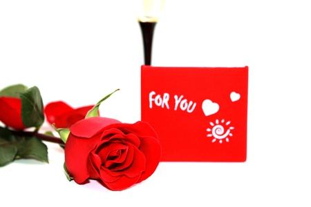 Red rose and gift for you photo